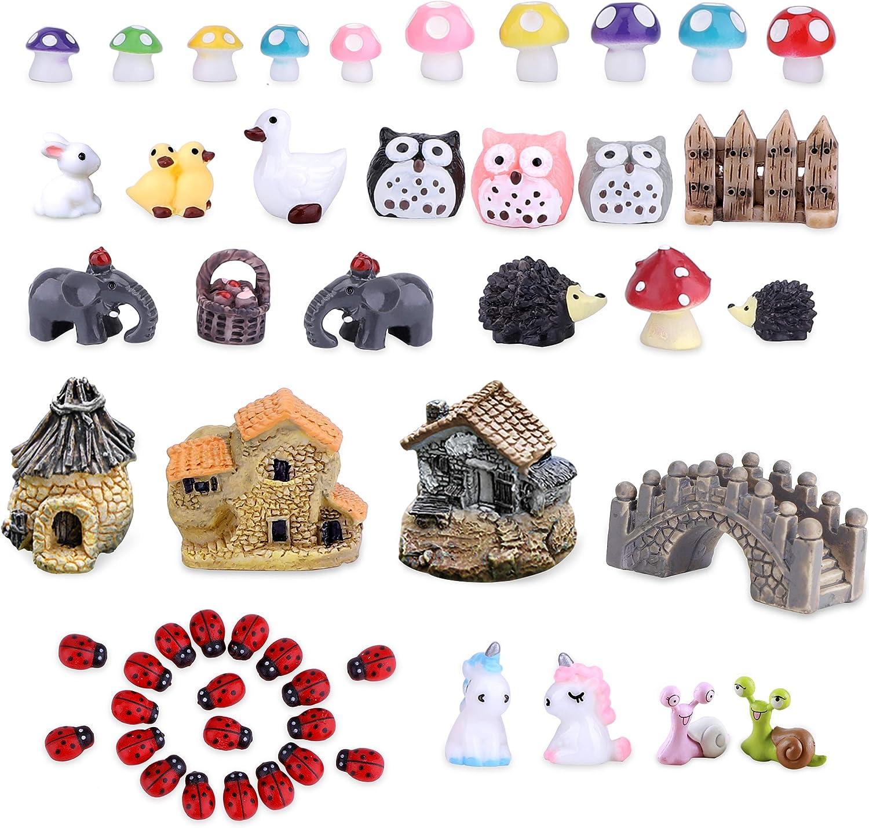 TCJJ 51 Pieces Miniature Fairy Garden Accessories, Miniature Garden Houses and Figurines DIY Micro Landscape Ornaments for Garden Dollhouse Potted Plant Bonsai Terrarium Decor (Pack of 51)
