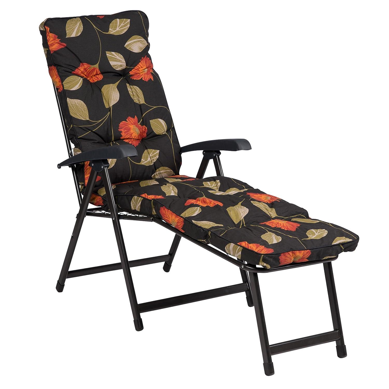 Deckchair LENA 08018-04, anthrazit-orange, Relaxliege mit Auflage, klappbar, LILIMO ®