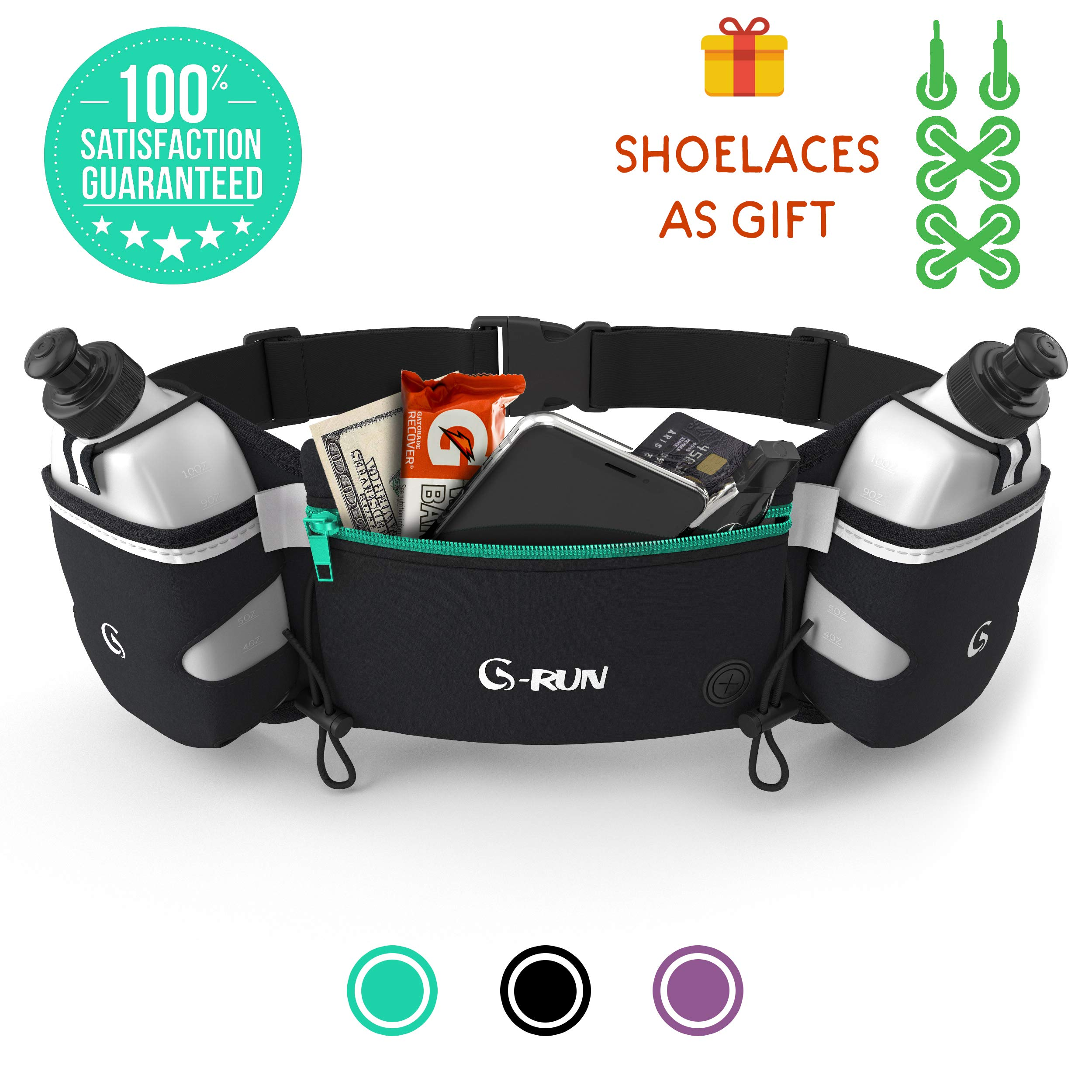G-RUN Hydration Running Belt with Bottles - Water Belts for Woman and Men - iPhone Belt for Any Phone Size - Fuel Marathon Race Pack for Runners by G-RUN