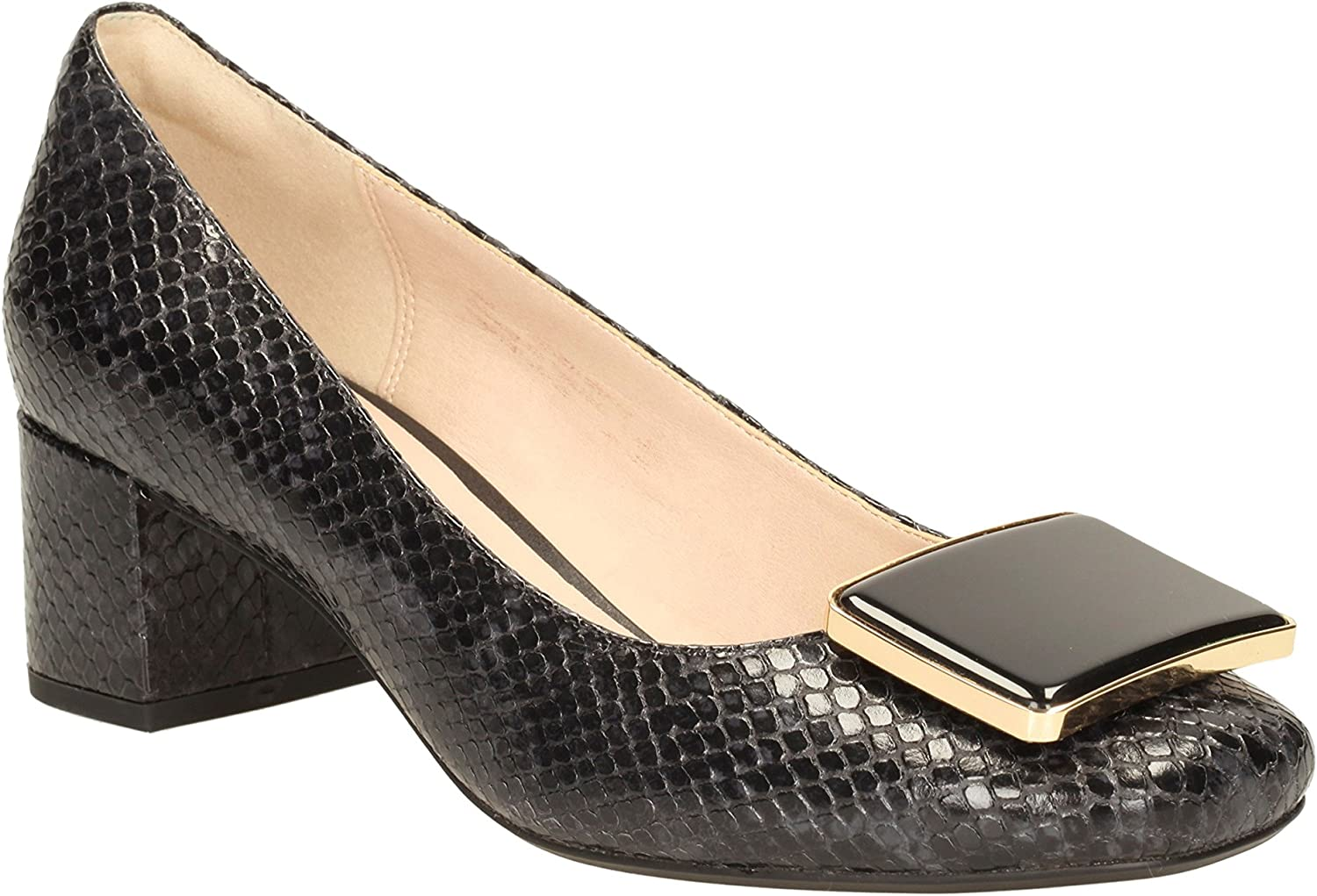 Historiador Inmoralidad montaje  Clarks Women's Block Heel Pumps Shoes Chinaberry Fun Black Snake Leather:  Amazon.co.uk: Shoes & Bags