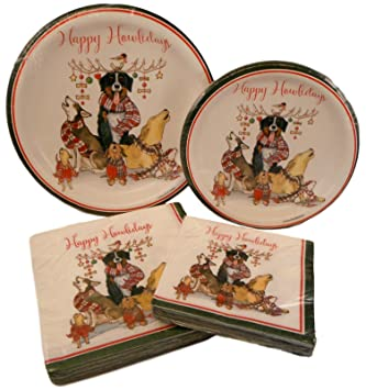Amazon.com: Dog and Cat Christmas Paper Plates and Napkins Party ...