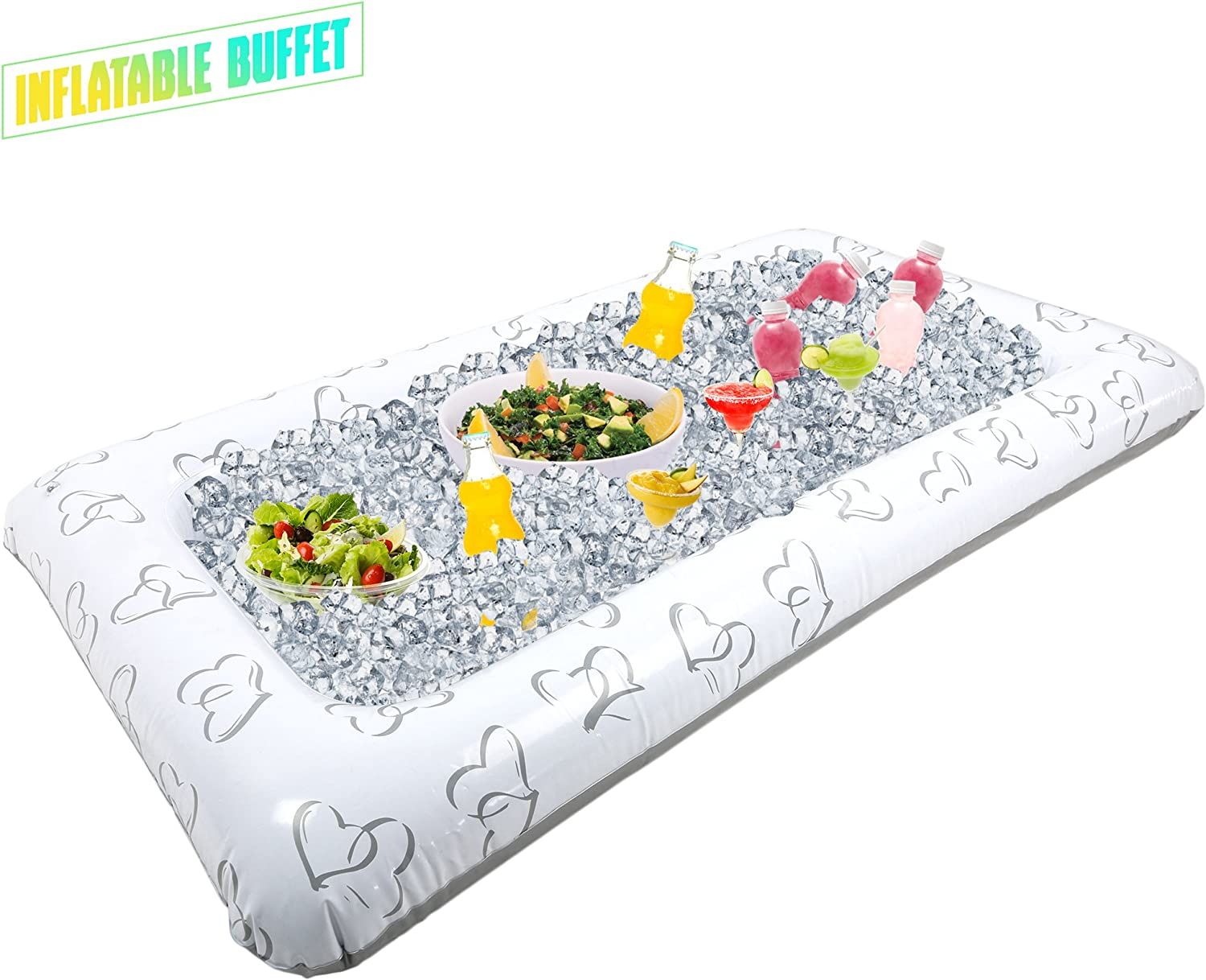 Outdoor Inflatable Buffet Cooler Server - Heart Blow Up Cooling Tub For Serving Buffet Style Picnic