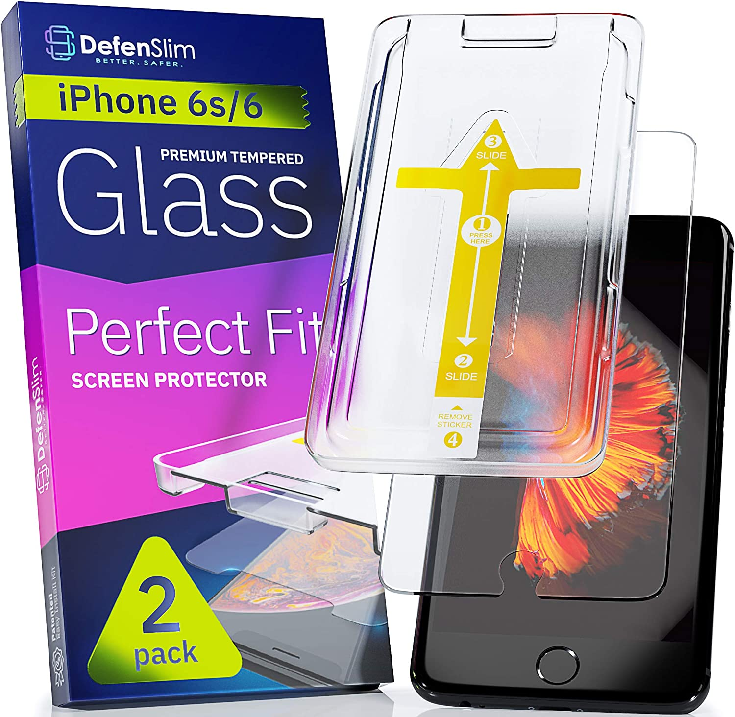 "Defenslim iPhone 6s Screen Protector [2-Pack] with Easy Auto-Align Install Kit - Tempered Glass for iPhone 6s, 6 (4,7"") - New Glass with Your Next Phone"