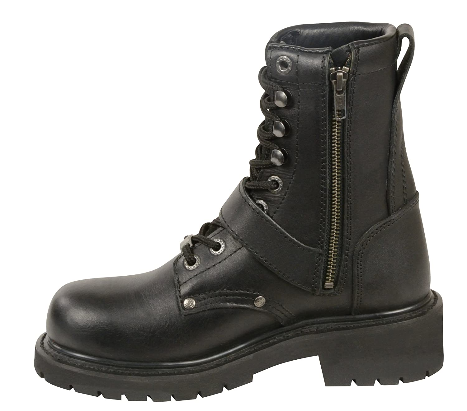 Black, Size 8.5 Milwaukee Leather Womens Classic Motorcycle Boots