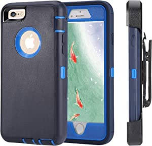 iPhone 6 Case, iPhone 6s [Heavy Duty Protection] [with Kickstand] 4 in 1 Rugged Shockproof Cover Holster Case with Built-in Screen Protector for Apple iPhone 6/6S (Navy/Blue)