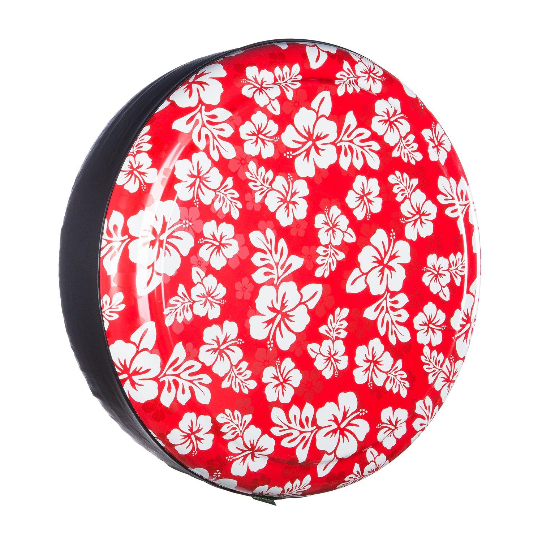 35'' Rigid Tire Cover (Plastic Face & Vinyl Band) - Hawaiian Print - Red