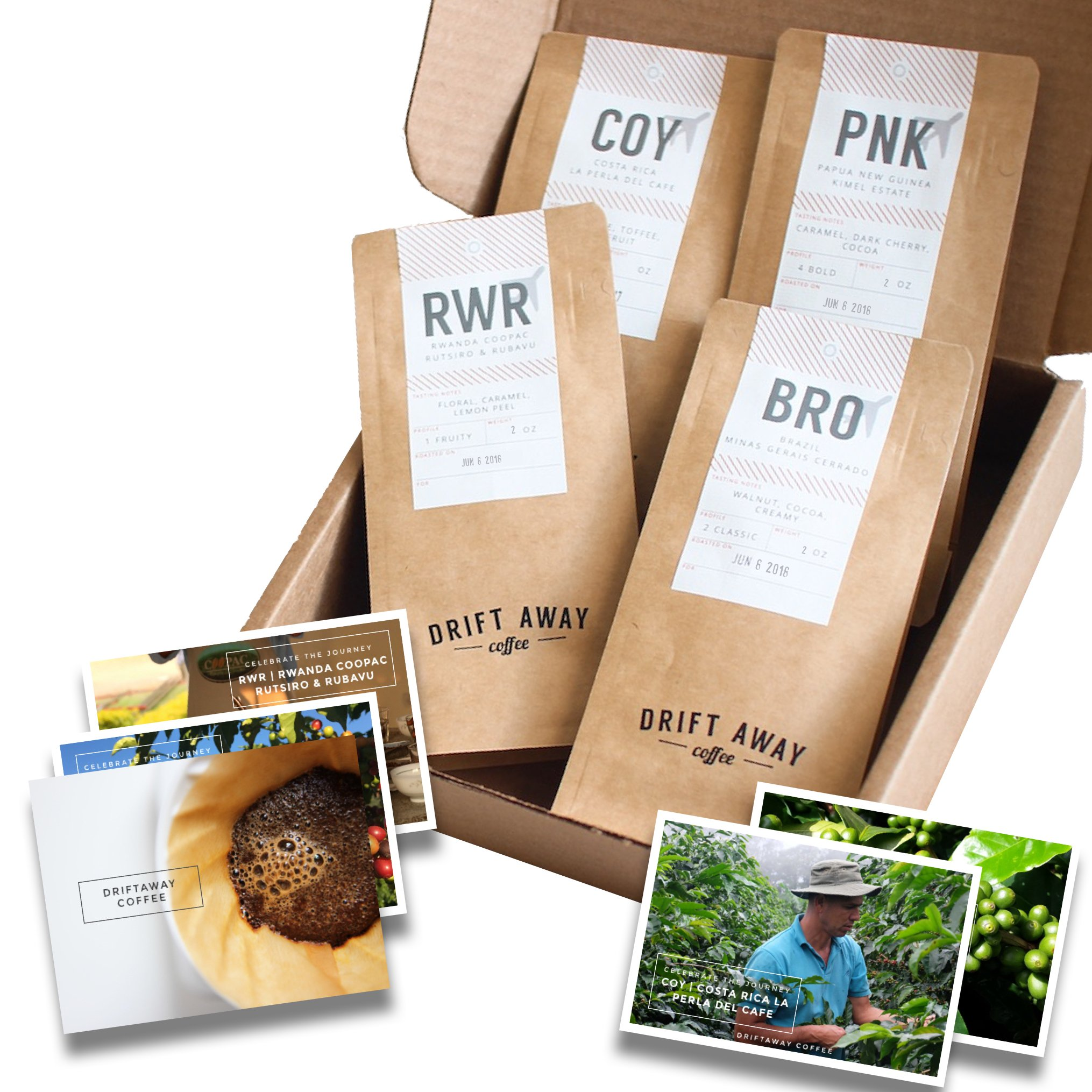 Driftaway Coffee - Coffee Subscription, Fresh Roasted Whole Bean Coffee (7 oz - 3 Months)