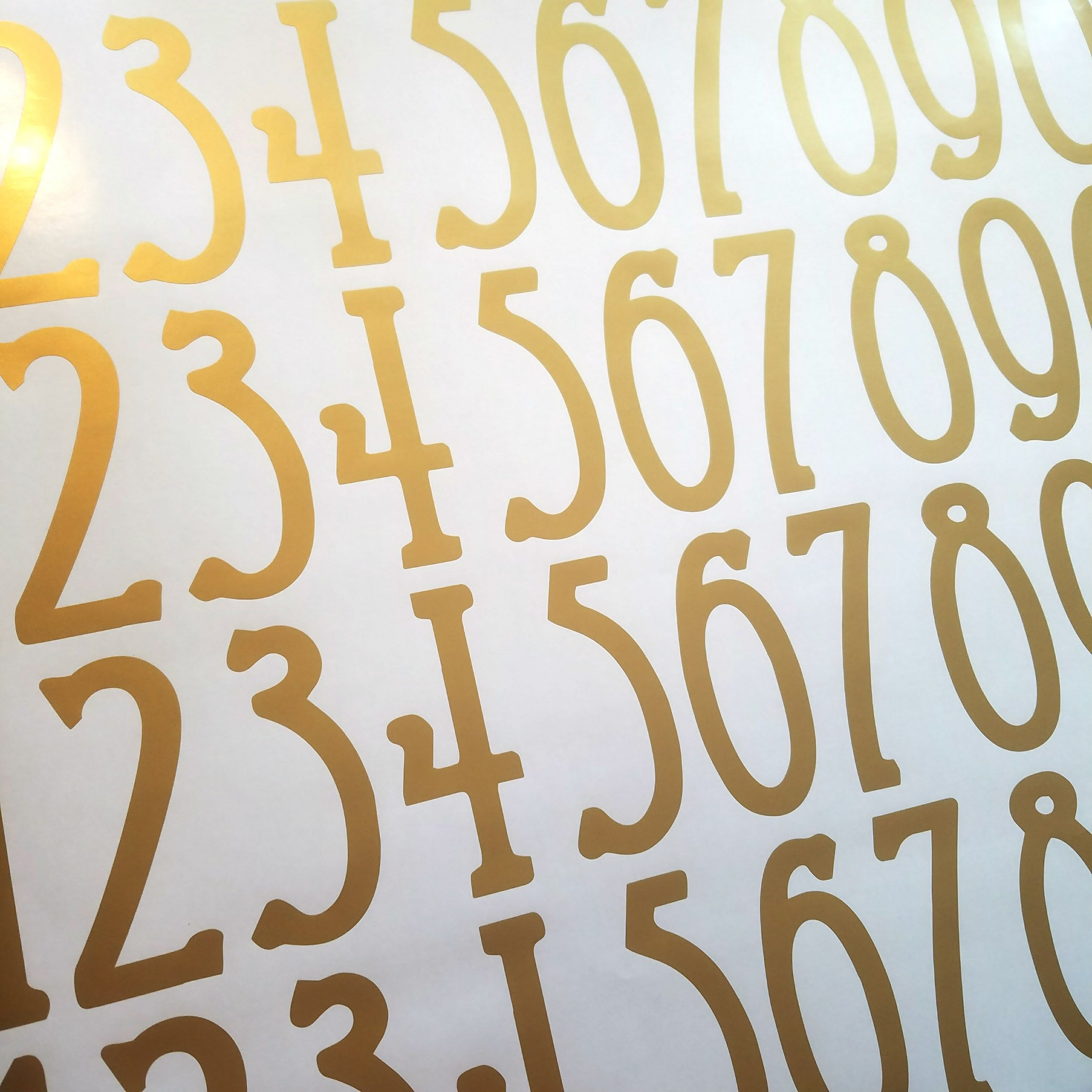 Arts & Crafts Style Self Adhesive Vinyl Numbers by Stonebrae and Strath (2 pack 4 inch, Soft Gold)