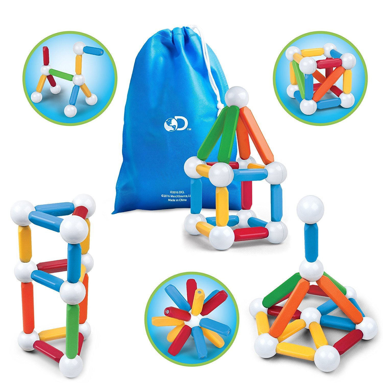 Discovery Kids 26 Piece Best Magnetic Blocks, Colorful Building Block Set  for Boys/Girls, Best 3D Educational Creativity, STEM Toys for Children –