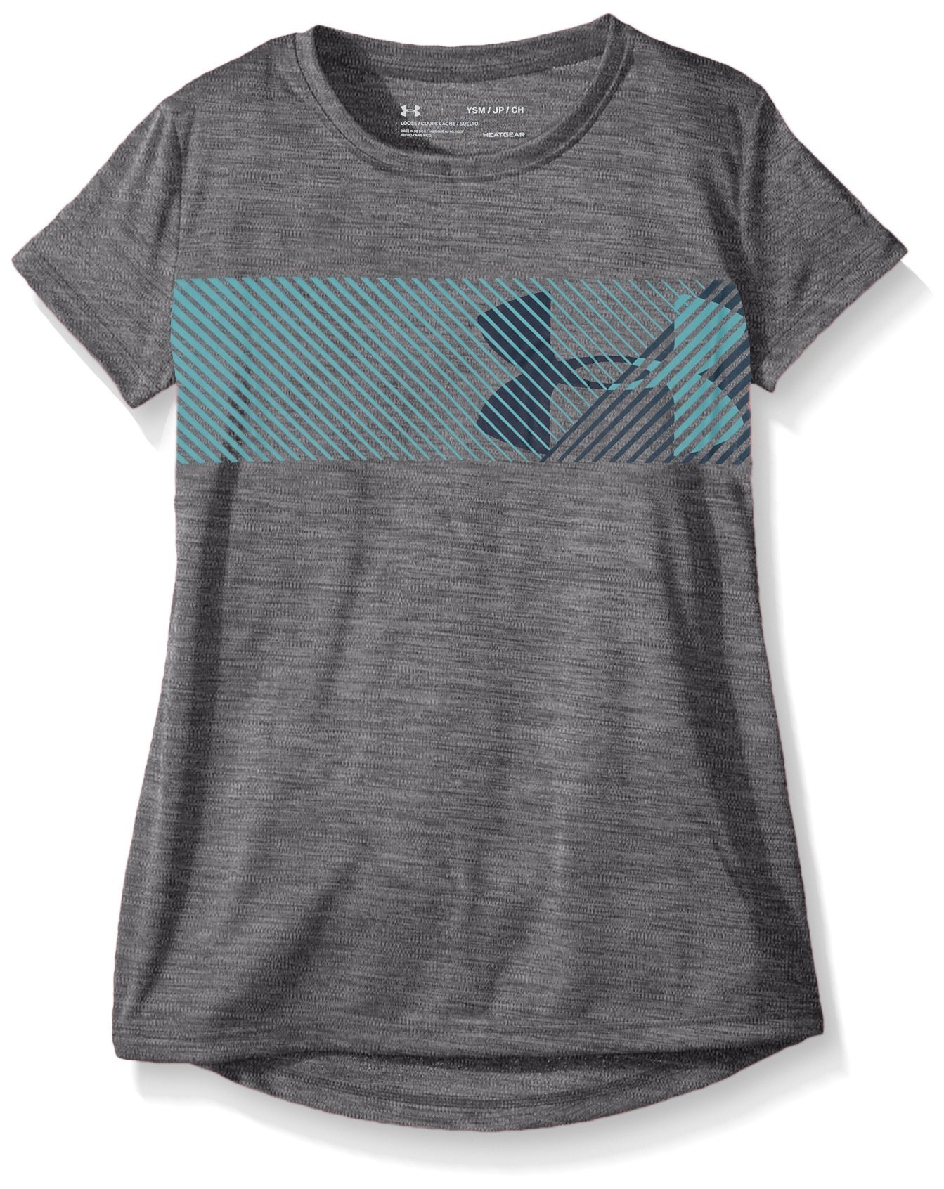 Under Armour Girls' Hybrid Big Logo Tee, Graphite /Tourmaline Teal, Youth X-Small