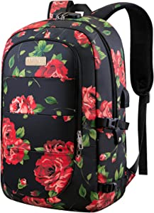 Laptop Backpack, 17.3 Inch Anti Theft Travel Business Laptop Backpack Bag with USB Port and Lock, College School Bookbag Computer Backpack Casual Daypack for Women Girls- Flower2