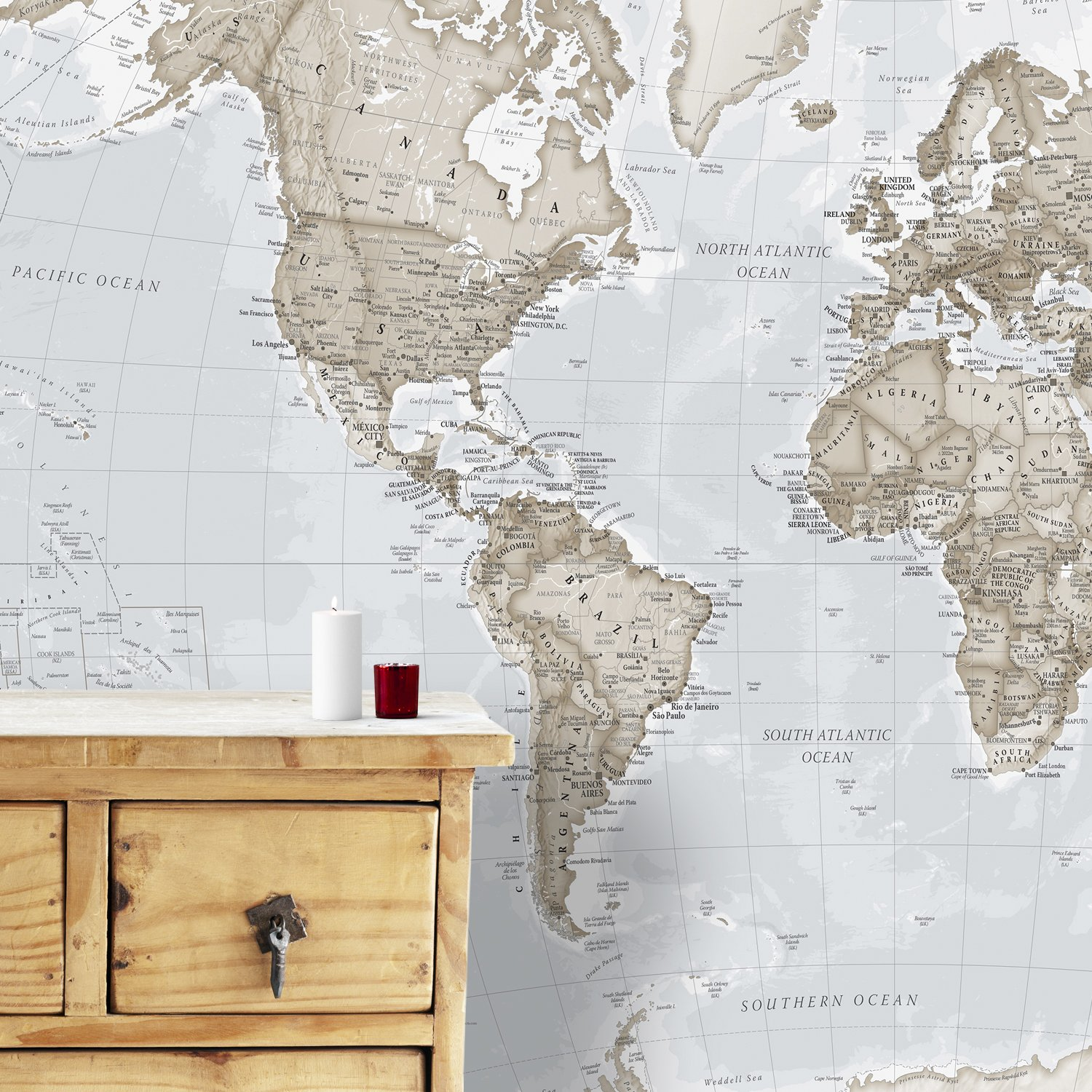 Giant World Map Mural – Decorazione da parete – 232 cm (W) x 158 cm (H), panna Maps International