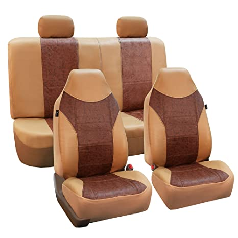 Car Seat Covers PU Leather Front and Rear Compatible to BMW 53 Bk//Tan
