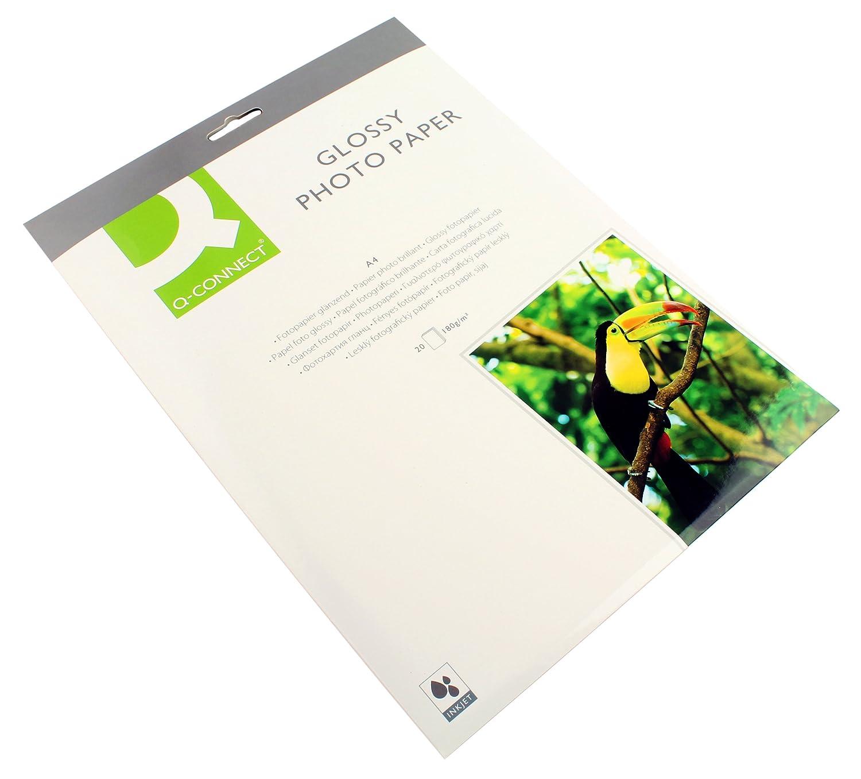 Q Connect-Carta fotografica lucida, formato A4, 180 g/mq, confezione da 50 pezzi KF02771