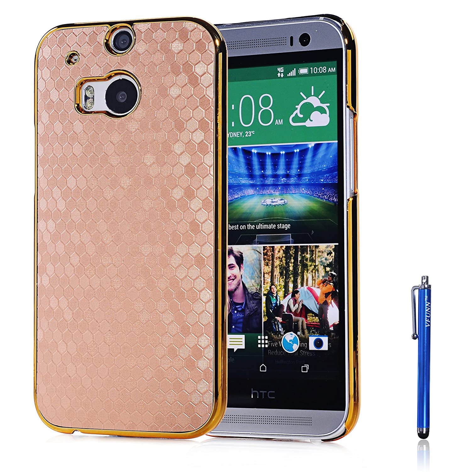 htc one m8 gold case. Amazon.com: HTC One M8 Case, Vfunn Elegant Golden Plating Hard Back Case Cover For M8, With 1 Screen Protector Clean Cloth Cleaner Blue Stylus Htc Gold T
