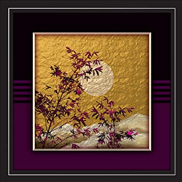 Jay Ganesh Frames Digitally Printed Purple Leaves On Gold With Black