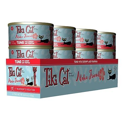 Tiki Cat Aloha Friends (Tuna con camarón y calabaza) Alimento para gatos enlatado,