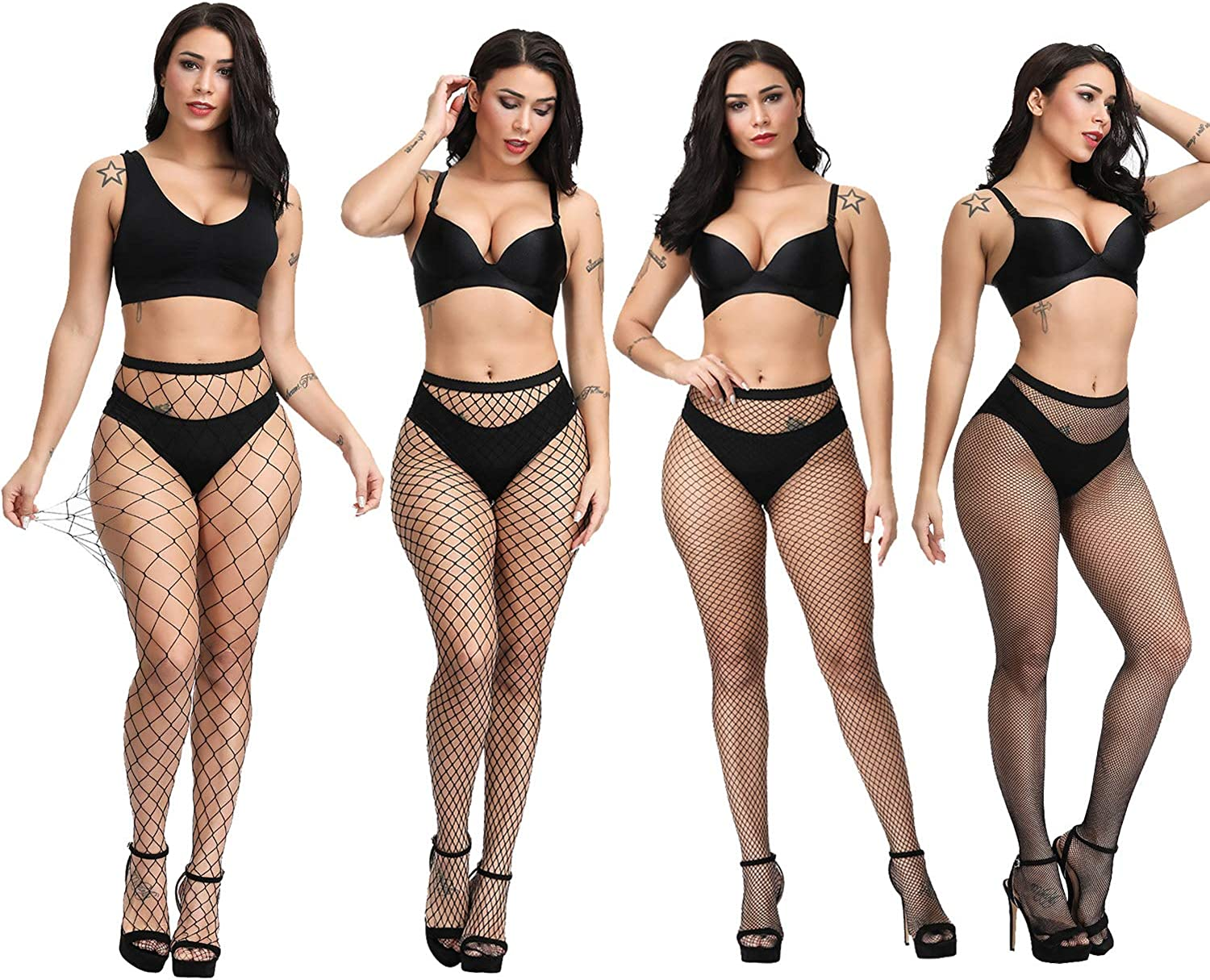 Fullsexy Fishnet Stockings for Women Thigh High Stockings High Waist Suspander Pantyhose (A2-4 Pack): Clothing