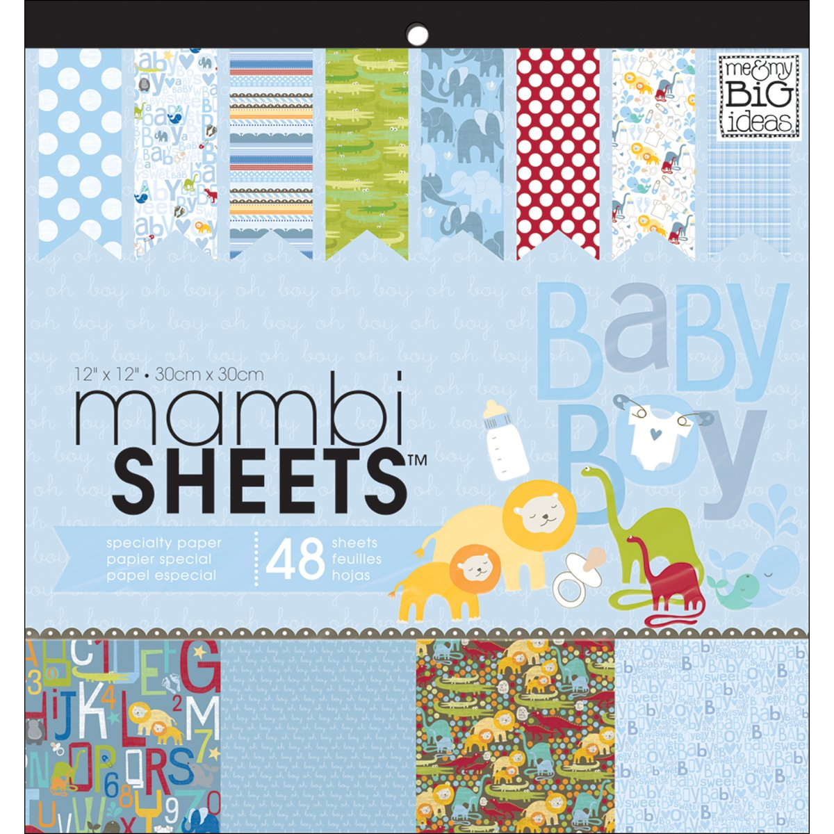 Me & My Big Ideas MAMBI Sheets Specialty Cardstock, 12 by12-Inch, 48 Per Sheet, Oh Baby Boy