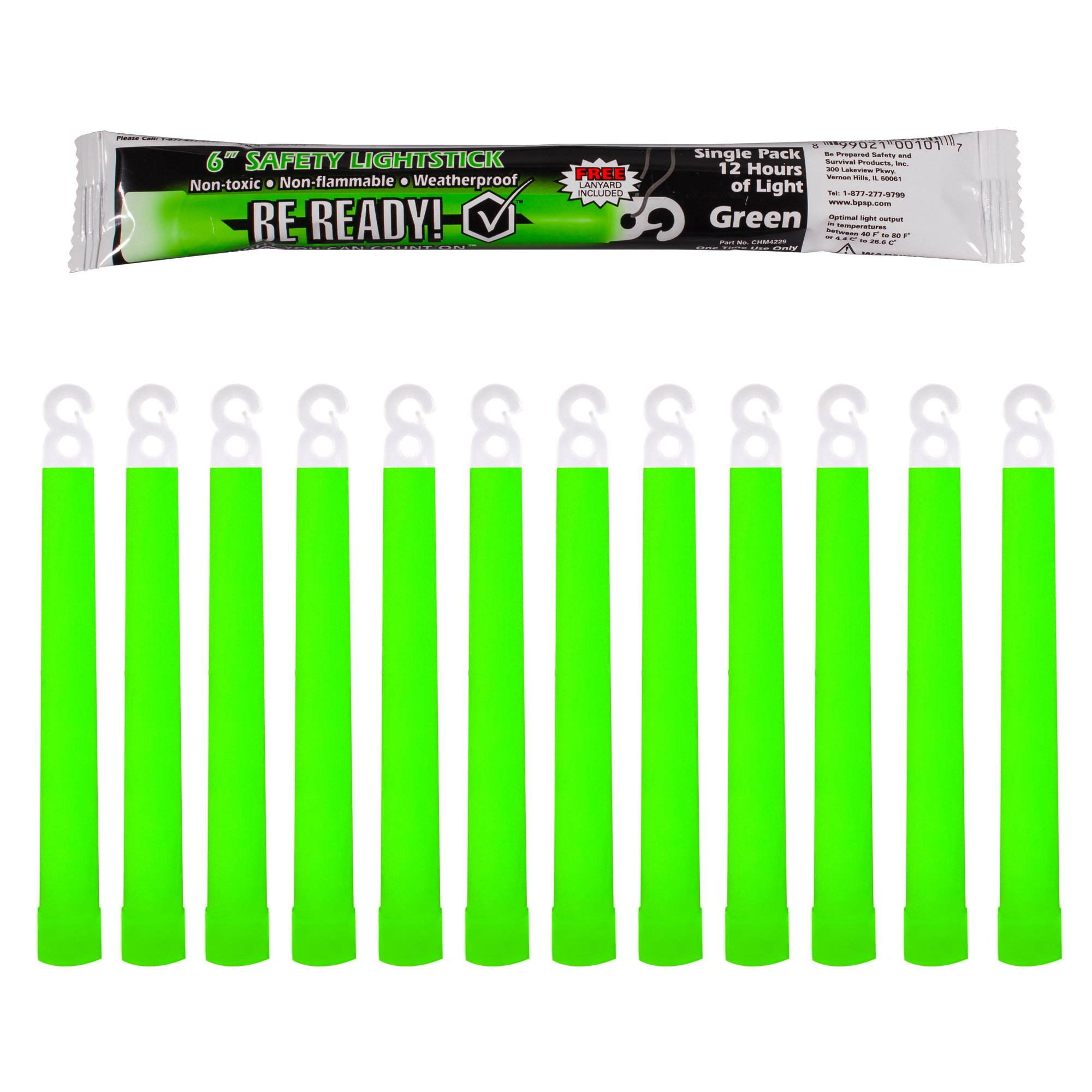 Be Ready - Industrial 12 hour Illumination Emergency Safety Chemical Light Glow Sticks (12 Pack Green) by Be Ready