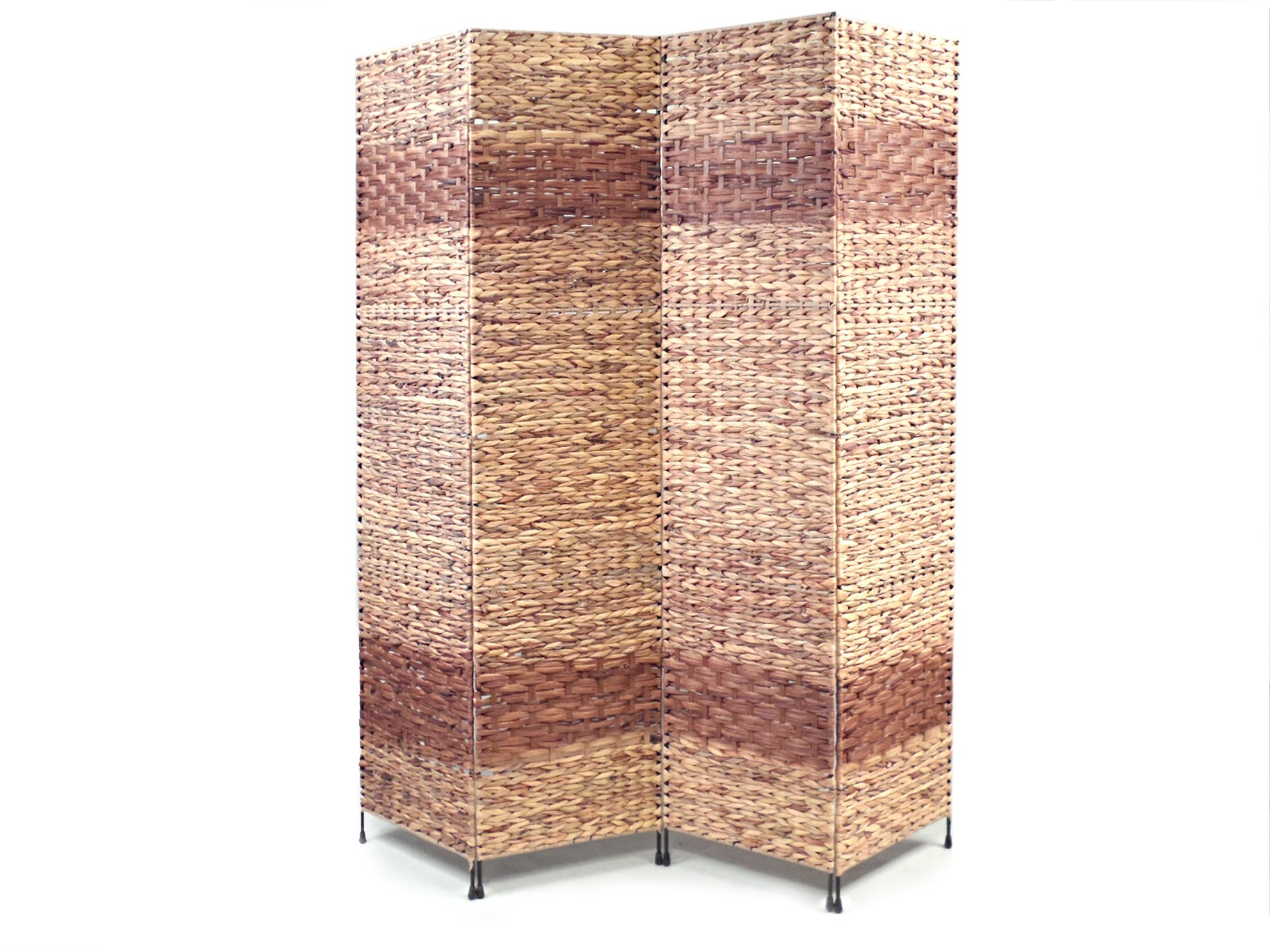 Proman Products Jakarta-B Folding Screen Metal Frame w/Water Hyacinth Inserts Natural Color Espresso Bands 4 panels, 60'' W x 67'' H x 1'' D