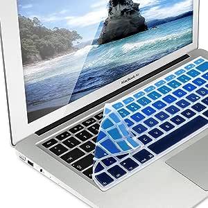 kwmobile Protector de Teclado Compatible con Apple MacBook Air 13/ Pro Retina 13/ 15 (de Mediados del 2016) - Lámina para Teclado QWERTZ en Azul ...