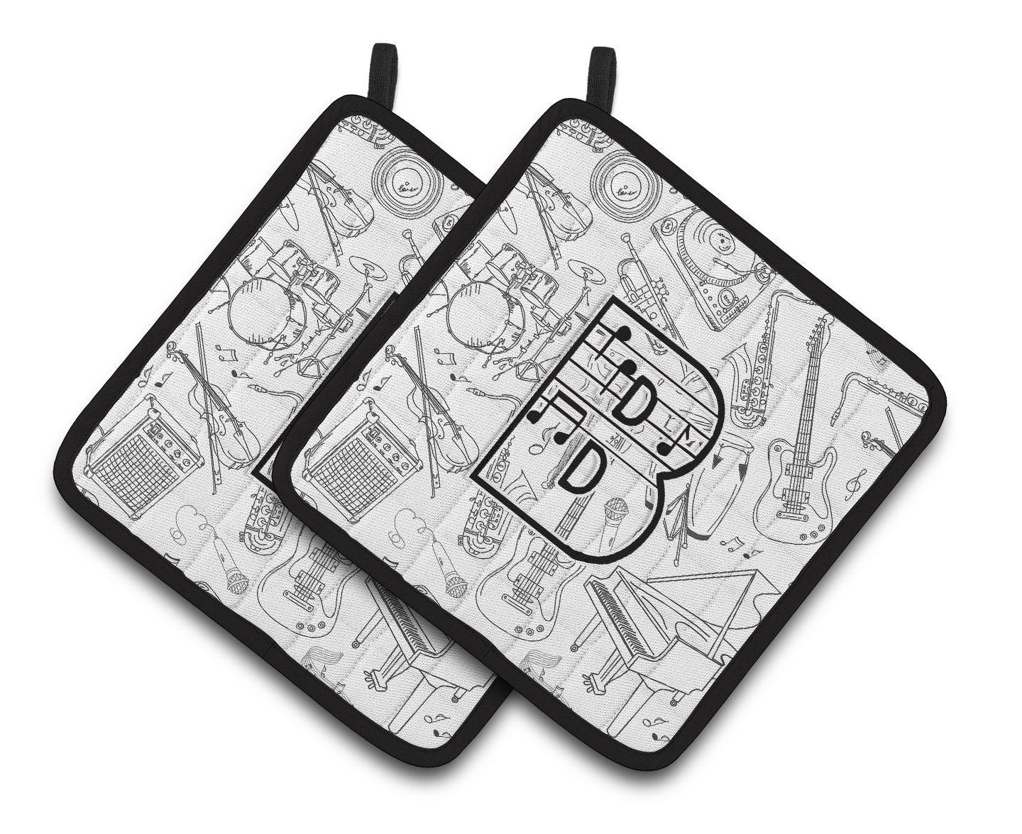 Carolines Treasures Letter B Musical Note Letters Pair of Pot Holders CJ2007-BPTHD 7.5HX7.5W Multicolor
