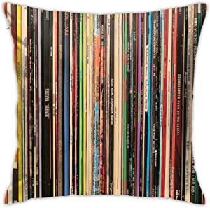 QNOQME Throw Pillow Cover Classic Alternative Rock Records Decor Pillowcase Square Hidden Zipper Cushion Pillow Case for Home/Office/Car