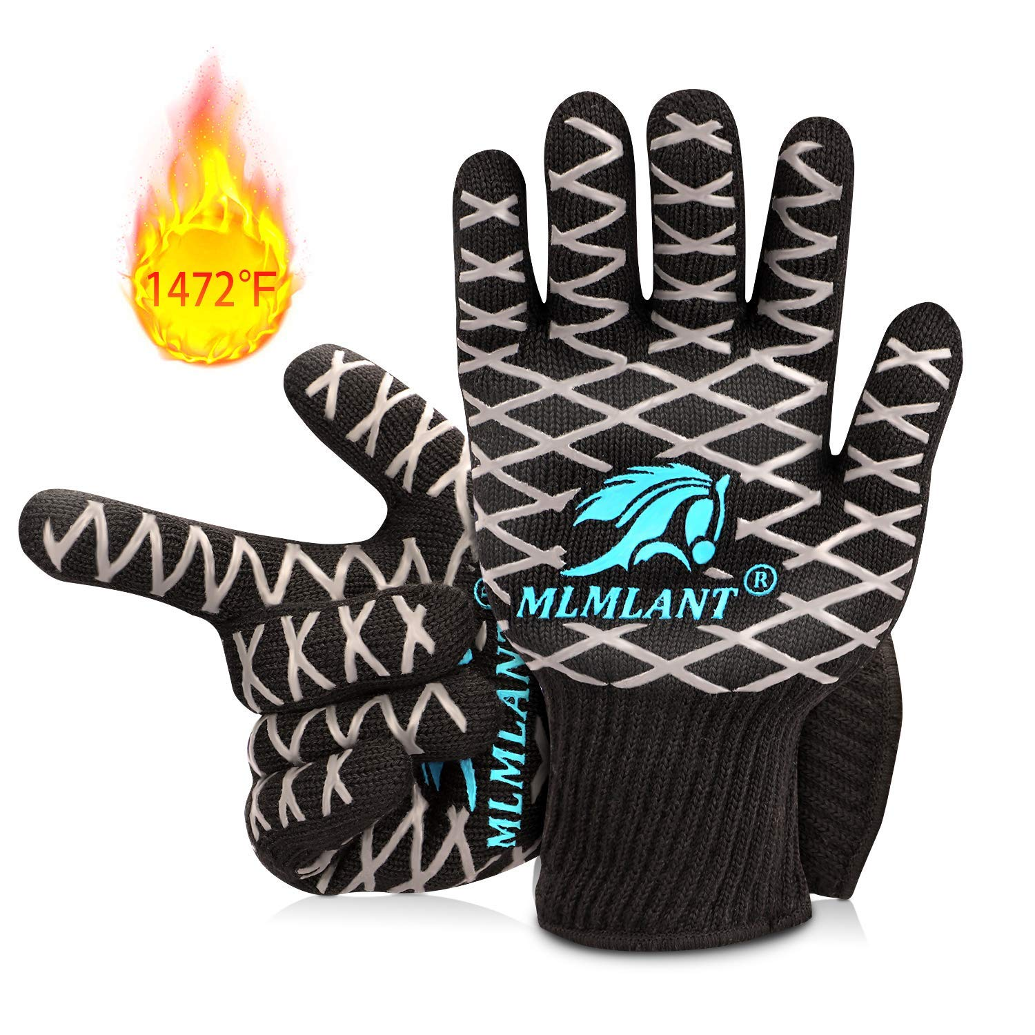 MLMLANT BBQ Grilling Gloves, 1472℉ Extreme Heat Resistant Gloves, Non-Slip & Premium Insulated Kitchen Oven Mitts for Baking Cooking Cutting Welding -1 Pair (M)