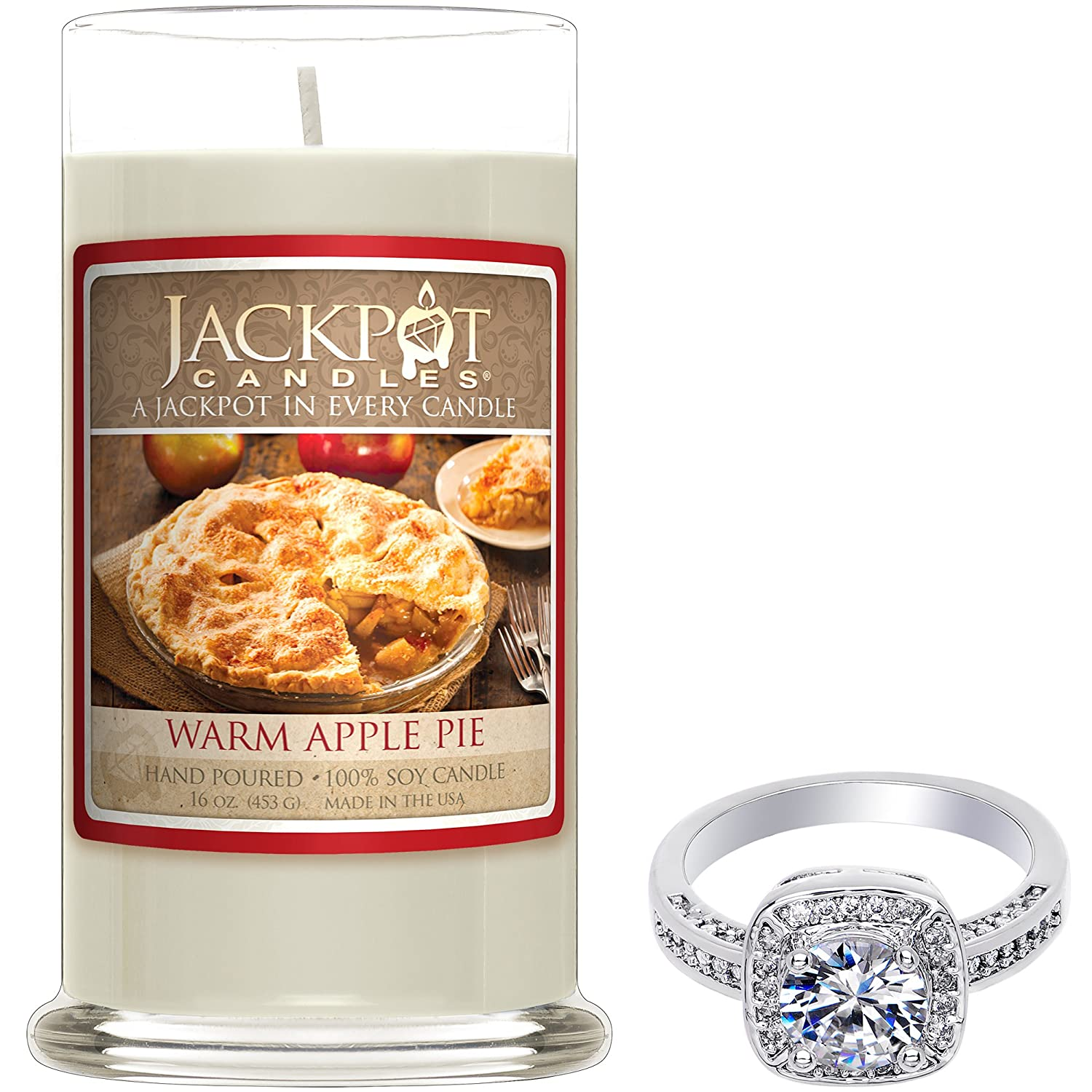 Warm Apple Pie Candle with Ring Inside (Surprise Jewelry Valued at $15 to $5, 000) Ring Size 7 Jackpot Candles CAN-300-RNG-7