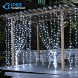 TORCHSTAR 300 LED Window Curtain String Lights, USB Powered String Lights, 8 Modes IP65 Waterproof Decorative Fairy Twinkle Lights, 5500K Daylight 9.8 x 9.8FT, for Home, Wedding, Christmas, Garden