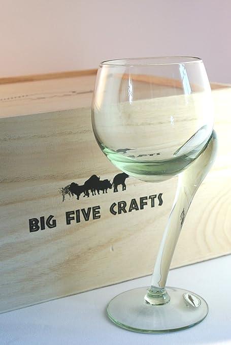 Reciclado, comercio justo, torcido Ngwenya cristal copas de vino blanco - caja de madera