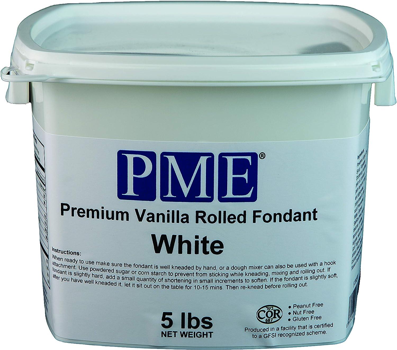 PME FON5W Premium Vanilla Rolled Fondant White 5 lb Standard
