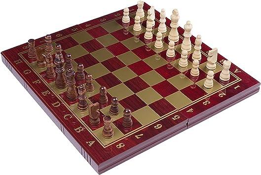 RUNNOW Ajedrez de Madera 3 en 1 tablero de ajedrez plegable del ...