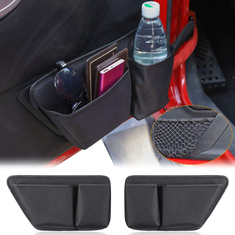 CheroCar Door Storage Bag Front Door Pockets Durable Oxford Storage Organizer for 2011-2018 Jeep Wrangler JK JKU 2//4 Door Interior Accessories 2 PCS