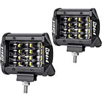 LED Pods, DJI 4X4 2Pcs 4'' 48W Quad Row LED Light Bar Osram LED Cubes Work Light Flood Beam Off Road Driving Fog Lamps Waterproof for Trucks Jeep ATV UTV SUV Boat, 2 Years Warranty