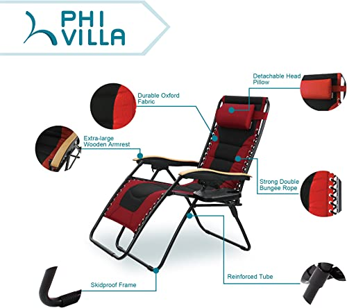 PHI VILLA Oversize XL Padded Zero Gravity Lounge Chair Wider Armrest Adjustable Recliner