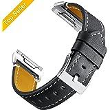 Bracelet pour Fitbit Ionic,Bande en Cuir Réglable Remplacment Sangle avec Métal Connecteur Sport Acessoire Grande Petite