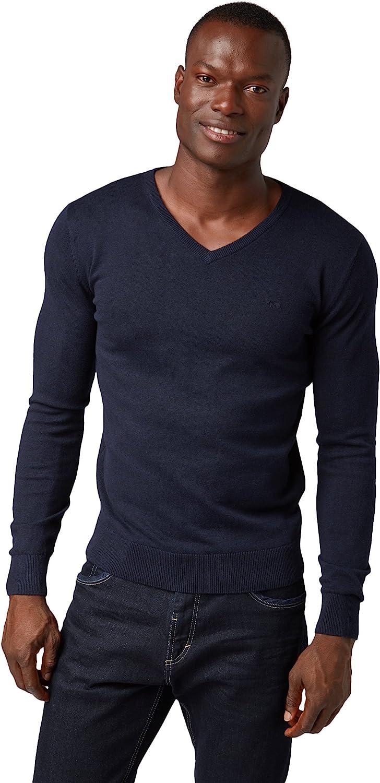 Tom Tailor Basic V-Neck Pullover mit Langarm Felpa Uomo