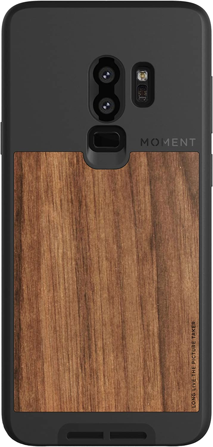 Moment Protective Galaxy S9+ Case - Durable Wrist Strap Friendly Case for Photography and Camera Lovers (Walnut Wood)