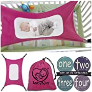 Baby Hammock for Crib – Mimics Mother's Womb - Infant Safety Hammock – Heavy Duty & Adjustable Straps – Ultra Soft Fabric with Reinforced Net, Newborn Infant Nursery Bed by Baby&Joy (Rose Pink)
