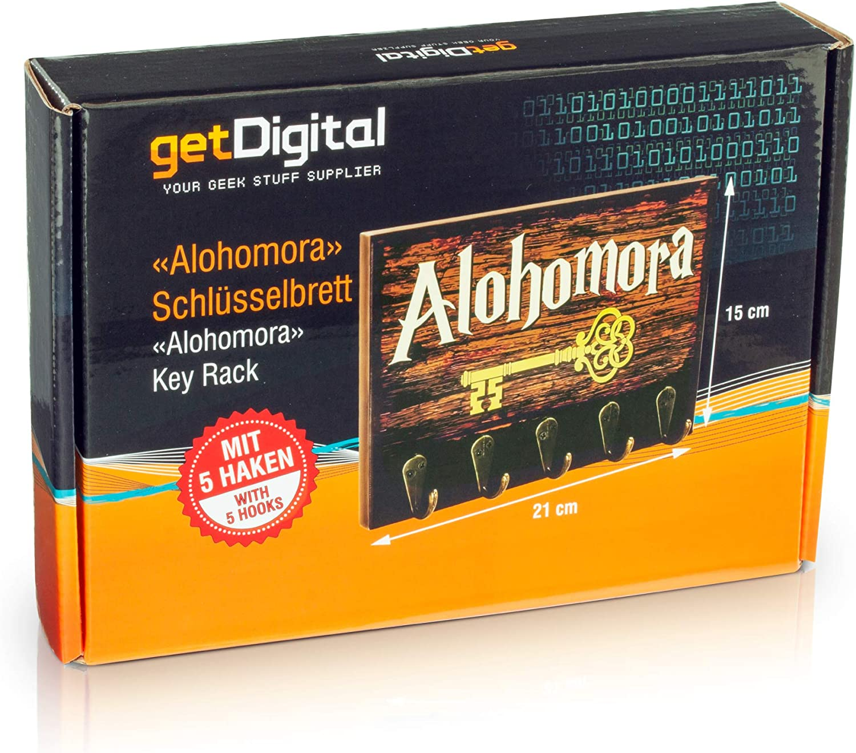 getDigital Appendichiavi Alohomora Geek Appendichiavi da Parete con 5 Ganci in Metallo 21 x 15 cm