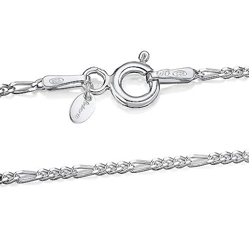 b4998245c817 Amberta® Joyería - Collar - Fina Plata De Ley 925 - Cadena de Fígaro - 1.5  mm - 40 45 50 55 60 cm (45cm)  Amazon.es  Joyería