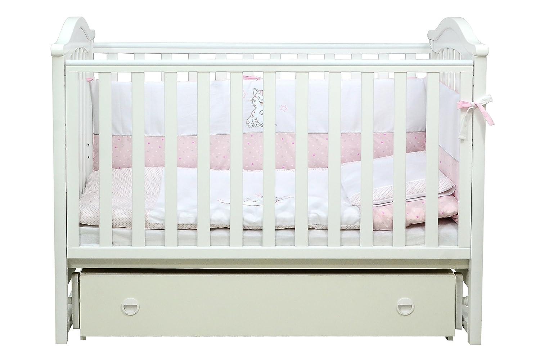 Babybett Kinderbett Weiß 120x60 Buche Massivholz Neu, Vienna 03.1.06