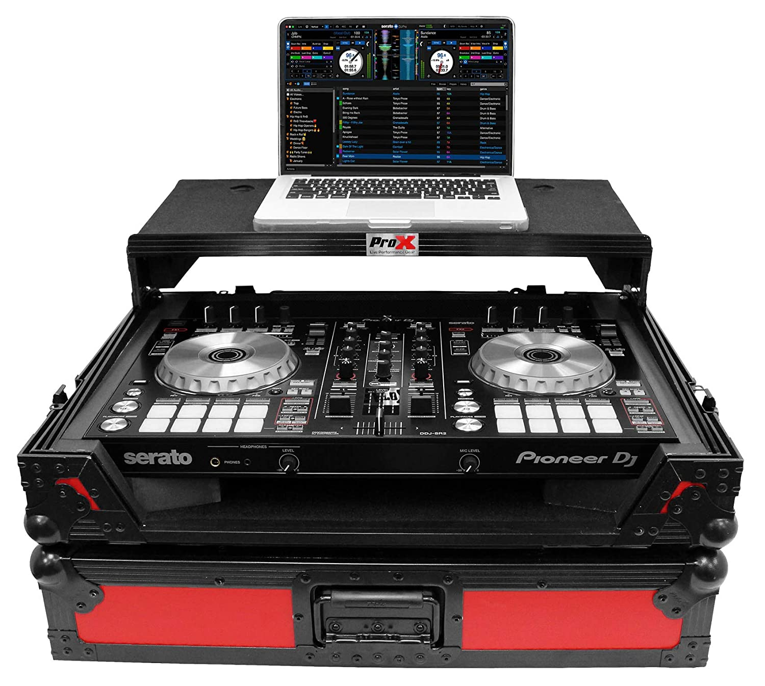 ProX XS-DDJSR2LTRB-LED Case+Sliding Laptop Shelf+LED's For Pioneer DDJ-SR2-Red Pro x Cases