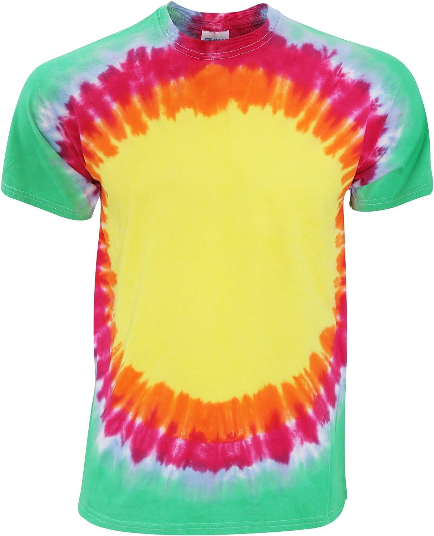 Colortone - Camiseta psicodélica Modelo Arcoíris/Resplandor Solar de Manga Corta para Adultos Unisex 100% Algodón- Verano (2XL/Arcoíris): Amazon.es: Ropa y accesorios