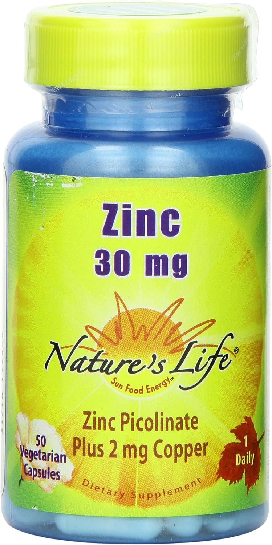 Nature's Life Zinc Picolinate Capsules, 30 Mg, Plus 2mg Copper,50 Count