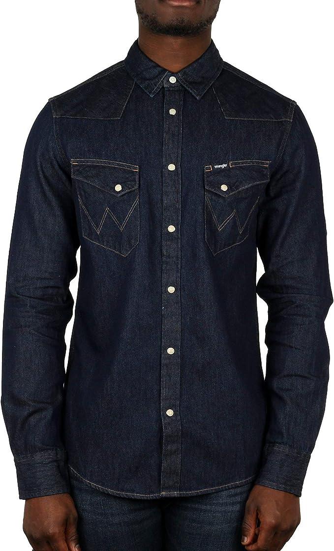 Wrangler Herren Hemd L//S Paisley Western Schwarz Black L