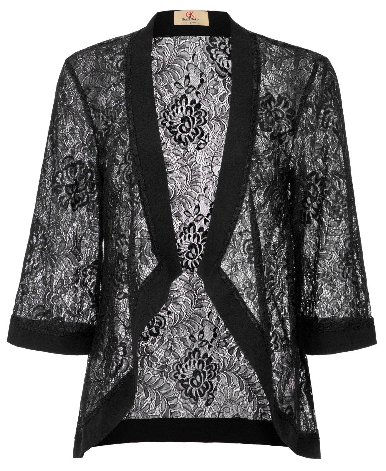 GRACE KARIN Summer Lightweight Beach Cardigan Coverup Lace Blouse(XL, Black 83)