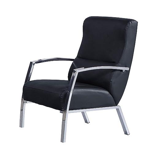 Adec - Butaca de espera, sillon salon, modelo Tango, acabado en símil piel color Negro, medidas: 60 cm (ancho) x 95 cm (alto) x 63 cm (fondo)